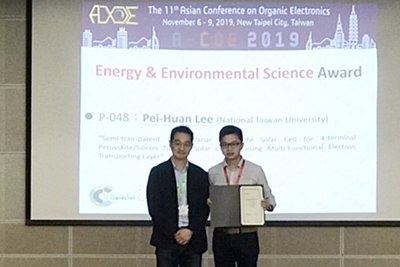 "Mr. Pei-Huan Lee Awarded an "" Energy & Environmental Science Poster Prize "" at the 11th Asian Conference on Organic Electronics"